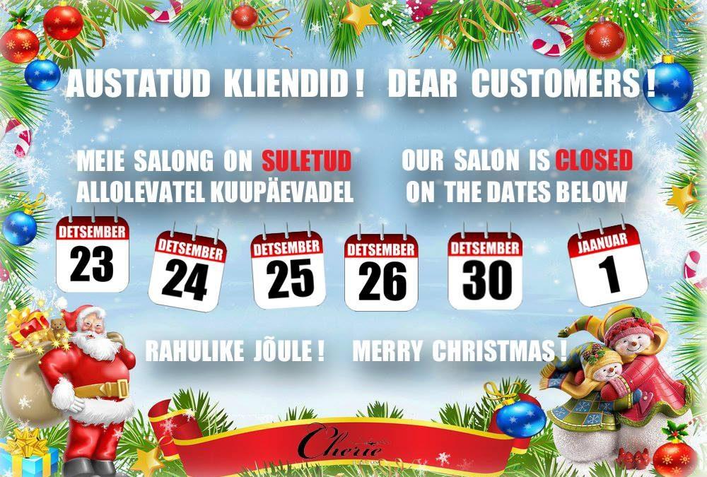 Salong on detsembris jõulupuhkusel